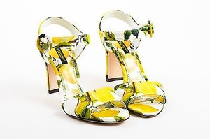 Dolce&Gabbana White Brocade Lemon Print Heeled Yellow Sandals