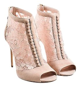 Dolce&Gabbana Dusty Suede Lace Keira Peep Toe Pink Boots