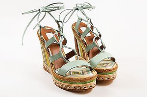 Valentino Green Multi Stripe Lace Up Espadrille Wedge Multi-Color Sandals