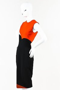 Victoria Beckham Black Orange Nude Colorblock Sleeveless Dress
