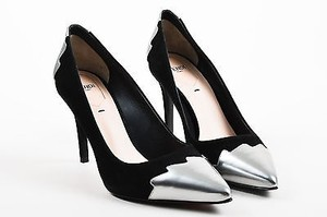 Fendi Silver Crocktail Cap Toe Pointed Black Pumps