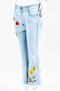 Stella McCartney Denim Floral Embroidery Frayed Straight Leg Jeans