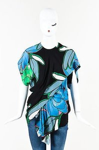 Marni Black Blue Green Floral Print Asymmetrical Top Multi-Color
