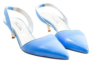 Oscar de la Renta Coated Blue Pumps