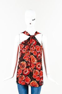 Lanvin Red Black Silk Poppy Print Twist Front Top Multi-Color