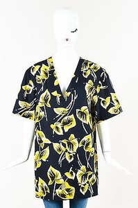 Marni Navy Yellow Tropical Leaf Print Short Sleeve Tunic