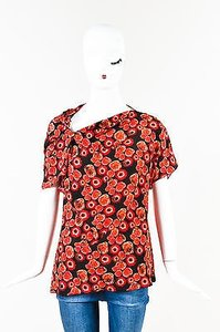 Lanvin Red Black Silk Floral Print Ruched Short Sleeve Top Multi-Color