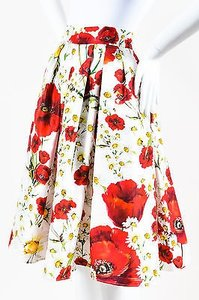Dolce&Gabbana White Red Floral Print Pleated Full Skater Skirt Multi-Color