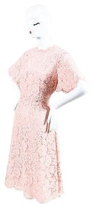 Valentino Light Sheer Floral Lace Short Sleeve Dress
