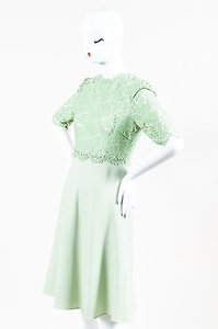 Valentino Mint Sheer Floral Lace Wool Flare Dress