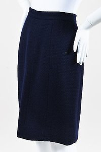 Chanel Boutique Navy Wool Tweed Paneled Skirt Blue