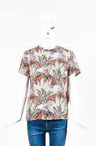 Valentino Silk Floral Print Short Sleeve Top Multi-Color
