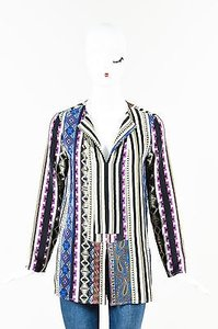 Etro Gray Black Silk Striped Printed Long Sleeve Top Multi-Color