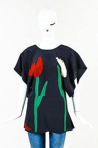 Marni Red Green Silk Top Black