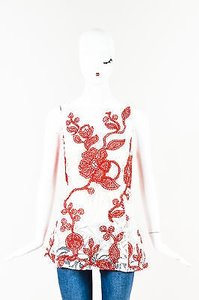 Oscar de la Renta Cream Top Red