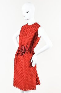 Lanvin short dress Red Geometric Patterned Flower Sleeveless on Tradesy