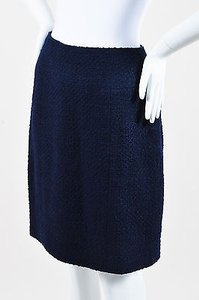 Chanel Boutique Navy Wool Brushed Tweed Paneled Skirt Blue
