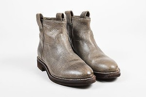 Brunello Cucinelli Brown Grained Leather Platform Moto Ankle Gray Boots