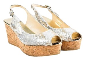Jimmy Choo Gold Tone Cream Sandals