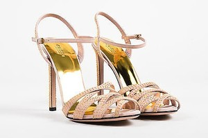 Gucci Pink Yellow Gold Tone Multi-Color Sandals