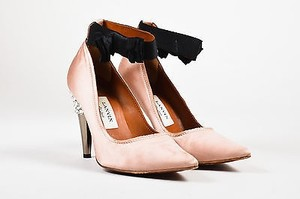 Lanvin Satin Rhinestone Heel Pointed Toe Ribbon Ankle Strap Pink Pumps