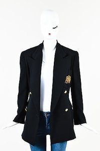 Ralph Lauren Ralph Lauren Black Wool Knit Gold Embroidered Double Breasted Blazer Jacket