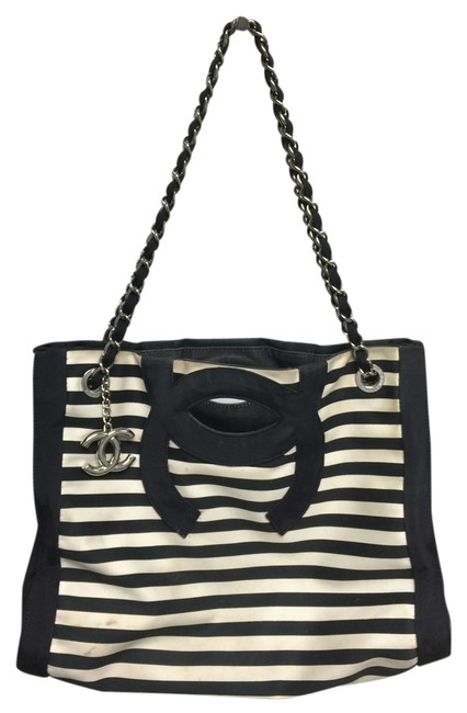 Item - Shoulder Messenger And Stripe Cc Cutout Handle Tote Three Way Black White Canvas Cross Body Bag