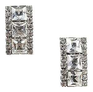Weiss Furs Weiss Silver Tone Crystal Cluster Embellished Curved Clip On Earrings