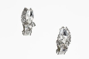 Weiss Furs Weiss Silver Tone Crystal Cluster Embellished Clip On Earrings