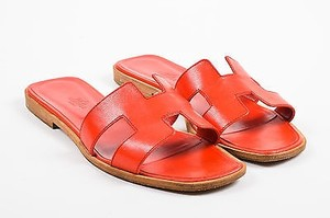 Herms Hermes H Strap Red Sandals