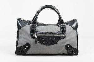 Balenciaga White Dotted Tote in Black