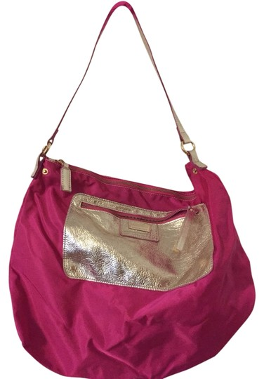 Preload https://item2.tradesy.com/images/pink-nylon-with-metallic-gold-leather-shoulder-bag-1952531-0-0.jpg?width=440&height=440