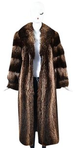 Other Vintage Tan Channeled Fur Shawl Long Ls Coat