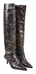 Gucci Bronze Multicolor Python Iridescent Pointed Toe Knee High Black Boots