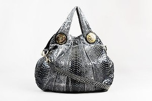 Furla Gucci Gray And Python Leather Ghw Hysteria Satchel in Black