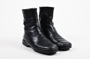 Tod's Tods Leather Square Toe Black Boots