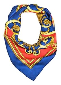Hermès Hermes Blue Red Gold Silk Les Tuileries Print 90 Cm Square Scarf