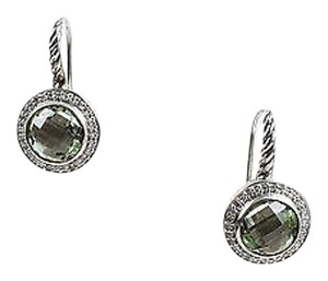 David Yurman David Yurman Sterling Silver Prasiolite Diamond Color Classics Earrings
