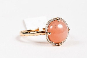 Tacori Tacori 18k Rose Gold Moonstone Diamond Halo Ring