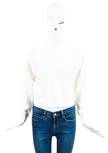 Theory Theyskens White Silk Scoop Neck Ls Cropped P Top Cream