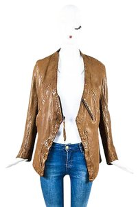 Improvd Wrinkled Leather Cutout Collar Brown Jacket