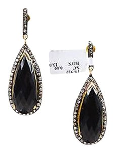14k Gold Sterling Silver Black Onyx Diamond Elongated Drop Earrings