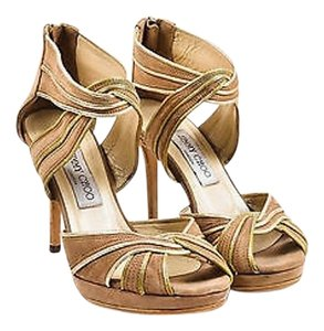 Jimmy Choo Suede Gold Tan Sandals
