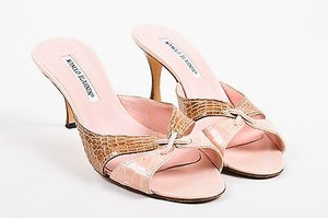 Manolo Blahnik Brown Pink Sandals