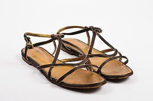 Saint Laurent Yves Gold Brown Sandals