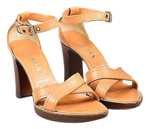 Prada Grain Leather Tan Sandals