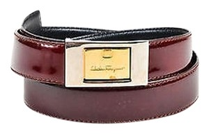 Salvatore Ferragamo Salvatore Ferragamo Burgundy Patent Leather Two Tone Buckle Belt