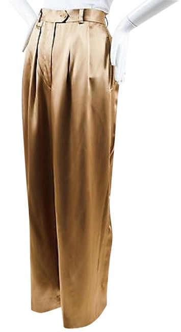 Item - Gold Sateen Pleated Wide Leg Trousers