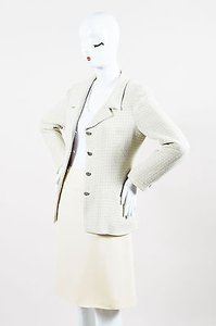 Chanel Chanel 00c Cream Gray Tweed Blazer Skirt Suit