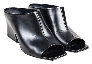 Céline Celine Leather Open Toe Black Mules